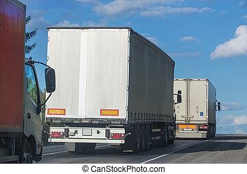 山, 移動, 卡車, 路