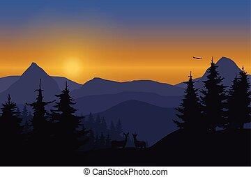 山, 空, 鹿, イラスト, ベクトル, 森林, 下に, 夜明け, 風景