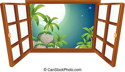山, 窓の眺め, 夜