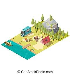 山, 等大, キャンプ, 湖の海岸, ベクトル