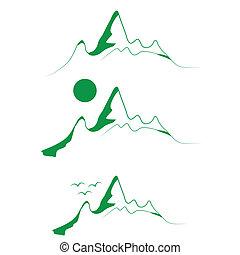 山, 紋章, セット, 木, 緑