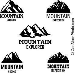 山, 紋章, デザイン, ロゴ, 印。, ラベル, アイコン, 隔離された, セット, 要素, ライト, バックグラウンド。