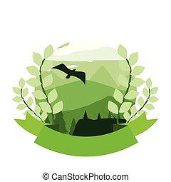 山, 紋章, 自然, 木, 群葉, 風景