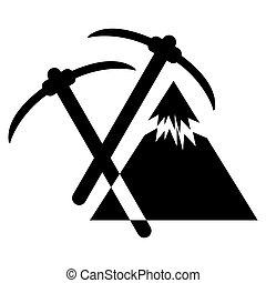 山, 紋章, themed, つるはし, 屋外で, 山