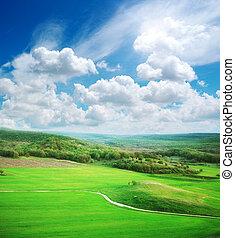 山, 緑の採草地