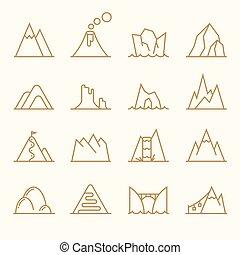 山, 線, 矢量, 集合, 元素