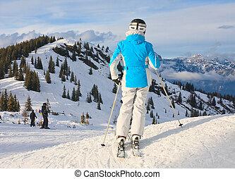 山, 背景, スキーヤー