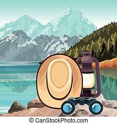 山, 背景, 上に, ランタン, 帽子, 風景, 湖, 双眼鏡