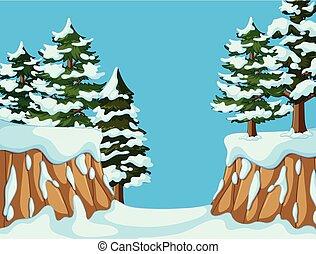 山, 背景, 現場, 木, 松