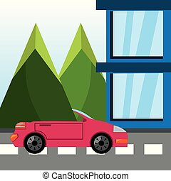 山, 自動車, 上に, ルード, トラック, 風景