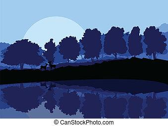 山, 自然場面, イラスト, ベクトル, 森林, 背景, 野生, 風景