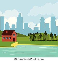 山, 自然, カラフルである, 都市, 家, 湖, 背景, 国, 風景