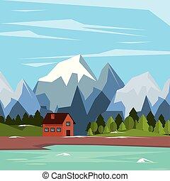 山, 自然, カラフルである, 雪が多い, 家, 湖, 背景, 国, 風景