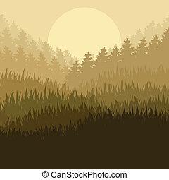 山, 自然, ポスター, 現場, イラスト, ベクトル, 森林, 背景, 野生, 風景