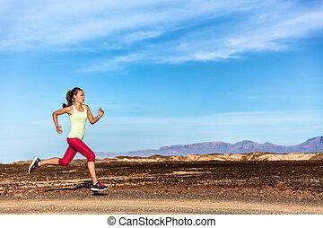 山, 自然, ランナー, 運動選手, 小道ラニング