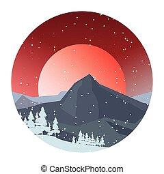 山, 自然, 冬の 太陽, 木, 雪, 日, 風景