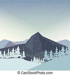 山, 自然, 冬, 松, 風景, 雪片