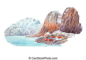 山, 自然, 冬, 湖, イラスト, 水彩画, 風景