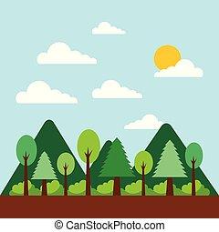 山, 自然, 太陽, 木の景色, 森林, 雲
