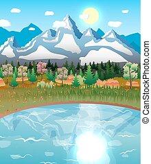 山, 自然, 太陽, 湖の 森林, 風景