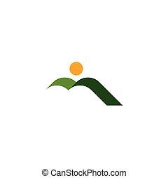 山, 自然, 太陽, 緑, ロゴ, 風景, アイコン