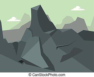 山, 自然, 岩が多い, 風景, 空