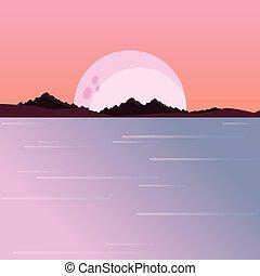 山, 自然, 月, 夜, 川の景色