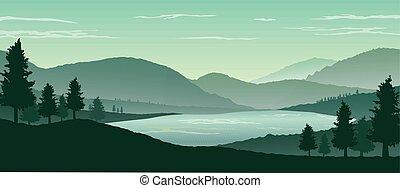 山, 自然, 木, シルエット, 背景, 風景