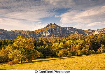 山, 自然, 秋, 岩, スロバキア, 予備, sulov, europe.