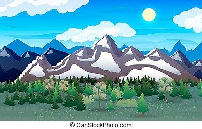 山, 自然, lake., 森林, 夜, 風景