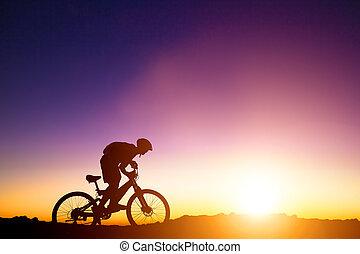 山, 自転車, 丘, 背景, ライダー, 日の出