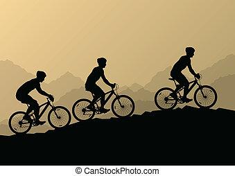 山, 自転車, 自然, 男性, サイクリスト, 活動的, ベクトル, イラスト, 背景, 野生, ライダー, 風景
