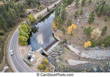 山, 航空写真, ダム, 峡谷, 川, 光景