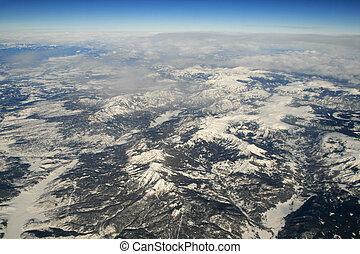 山, 航空写真, 岩が多い, 写真