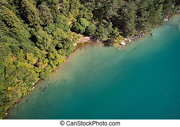 山, 航空写真, 緑, 湖, 森林, 青, 光景