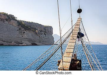 山, 船, 背景, に対して, 航海