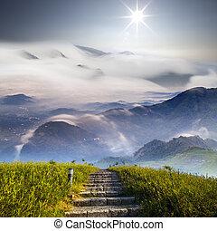 山, 花, 雲, すてきである