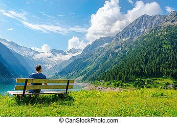 山, 若い, 湖, ベンチ, 空色, 座る, 人