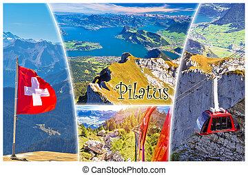 山, 葉書, 湖, ラベル, コラージュ, pilatus, ピークに達しなさい, ルツェルン, 光景