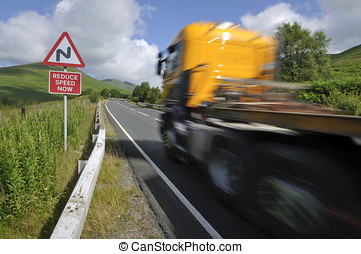 山, 蘇格蘭, 卡車, 路