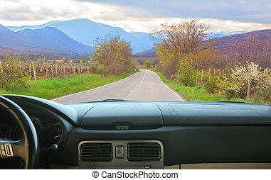 山, 行く, 道, 自動車