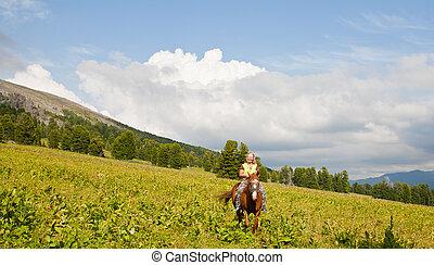 山, 観光客, 女性, 馬の背