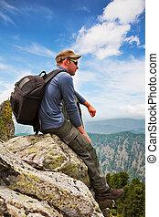山, 観光客, -, ∥称賛する∥, 岩, 座る, 風景, 人