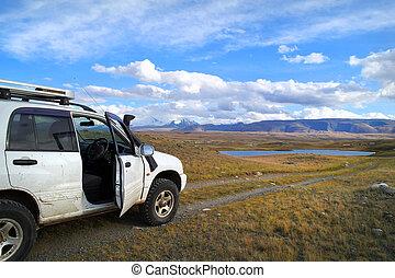 山, 観光客, 自動車, オフロード, altai, 有名, プラトー, ロシア, ukok