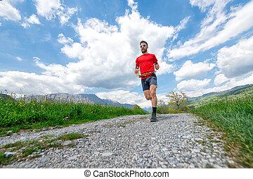 山, 訓練, ランナー, 田舎の道路, マラソン