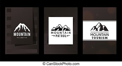 山, 識別, 公司, 遊人, 市場, 旅遊業, 矢量, 山, image., 巡邏, 多雪, 頂部, 標識語, ...