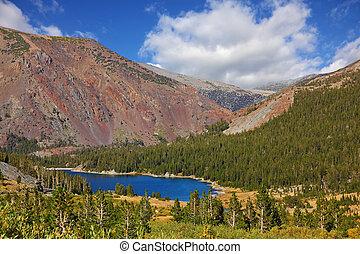 山, 赤, 湖, tioga, 絵のよう