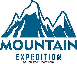 山, 远征, 阿尔卑斯山, 运动, 矢量, 图标