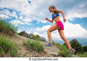 山, 運動選手, 若い, 坂の上へ, 小道ラニング, ブロンド, 女の子