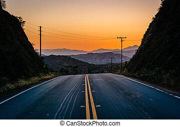 山, 道, 上に, agua 峡谷, 遠い, escondido, 日没